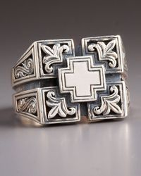 Konstantino | Metallic Etched Maltese Cross Ring for Men | Lyst