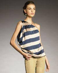 Lanvin | Natural One-shoulder Striped Top | Lyst