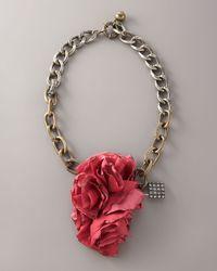 Lanvin | Metallic Collier Fleur Brule Necklace | Lyst