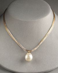 Majorica | Metallic White Pearl Necklace | Lyst