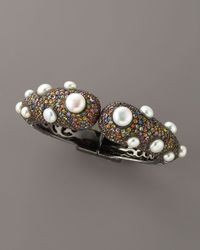 M.c.l  Matthew Campbell Laurenza - Brown Pave Tip Bangle with Pearls - Lyst