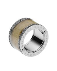 Michael Kors - Metallic Horn Design Barrel Ring with Pave Detail - Lyst