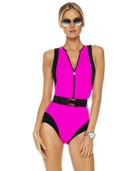 Michael Kors | Colorblock Scuba Swimsuit, Neon Pink | Lyst