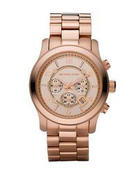 Michael Kors | Pink Rose Golden Oversized Chronograph Watch | Lyst