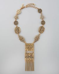 Oscar de la Renta | Metallic Scalloped Web Crystal Collar Necklace | Lyst