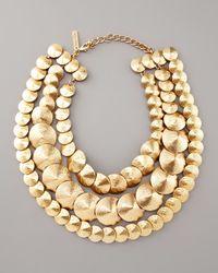 Oscar de la Renta | Metallic Three-strand Cone Necklace | Lyst