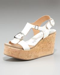 Pedro Garcia | White Leather Buckle Cork Wedge Sandal | Lyst
