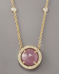 Penny Preville | Metallic Pink Sapphire & Diamond Pendant Necklace | Lyst