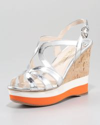 Prada | Metallic Leather and Cork Wedge with Micro Stripe Detail | Lyst