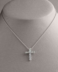 Roberto Coin | Metallic Diamond Cross Pendant Necklace, Large | Lyst