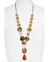 Sequin | Metallic Montenegro Metal Stone Long Pendant Necklace | Lyst