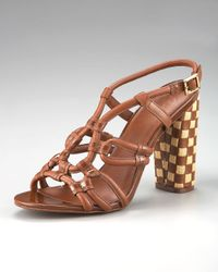 Tory Burch | Brown Layce Woven-heel Sandal | Lyst