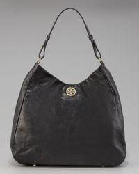 5d9d830c97c Lyst - Tory Burch Dena Leather Hobo in Black