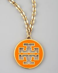 Tory Burch | Orange Logo Pendant Necklace | Lyst