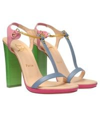 Christian Louboutin | Multicolor Sylvieta Pastel Leather and Snake Chain Sandals | Lyst