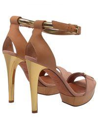 Lanvin | Brown Leather and Wooden Platform Heels | Lyst