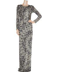 Matthew Williamson - Gray Printed Satin-jersey Gown - Lyst