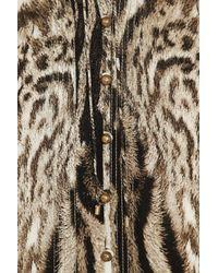 Roberto Cavalli | Black Animal Print Stretch Silk Crepe De Chine Blouse | Lyst