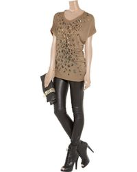 Roberto Cavalli - Brown Sequin Embellished Jersey T-shirt - Lyst