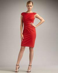 David Meister | Red Sunburst Pleated Dress | Lyst