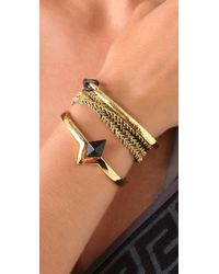 Tai - Black Gold Hook Woven Leather Bracelet - Lyst