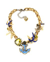Betsey Johnson | Metallic Nautical Theme Frontal Necklace | Lyst