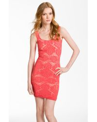 Free People | Red Stretch Lace Tank Dress | Lyst