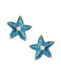 Betsey Johnson - Blue Turquoise Starfish Stud Earrings - Lyst