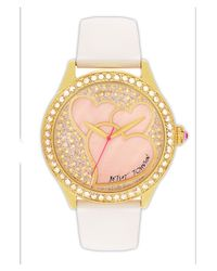 Betsey Johnson | White Heart Dial Leather Strap Watch | Lyst