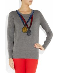 Markus Lupfer | Gray Medal Sequined Merino Wool Sweater | Lyst