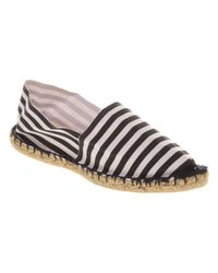 Office - Black Aqua Flat Espadrille Whitenavy Stripe Canvas - Lyst