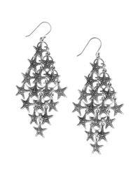 Lucky Brand - Blue Starfish Chandelier Earrings - Lyst