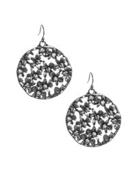 Lucky Brand | Metallic Silver Tone Floral Open Work Disc Earrings | Lyst