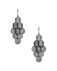 Lucky Brand | Metallic Silver Tone Open Work Disc Earrings | Lyst