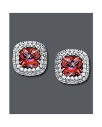 Swarovski - Pink and White Swarovski Zirconia Button Studs  - Lyst
