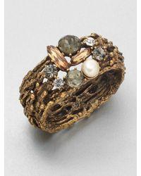 Oscar de la Renta - Metallic Stone Swarovski Crystal Embellished Cuff Bracelet - Lyst