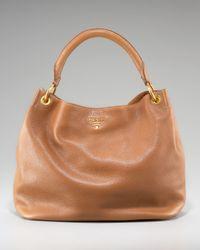 Prada | Brown Vitello Daino Pebbled Calfskin Leather Hobo | Lyst