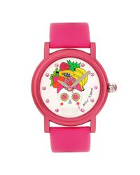 Betsey Johnson | Pink Skull Fruit Dial Watch | Lyst