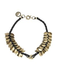 Giles & Brother - Natural Leather Accented Wheat Petal Necklace - Lyst