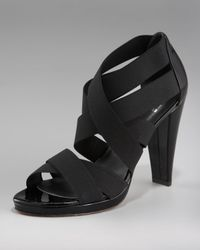 Stuart Weitzman | Black Elastic Strappy Sandal | Lyst