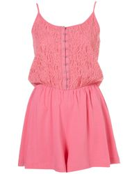 036727c5b1 Lyst - TOPSHOP Pink Lace Playsuit in Pink