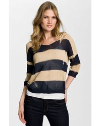 BCBGMAXAZRIA   Blue Drop Stitch Stripe Sweater   Lyst
