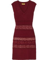 Catherine Malandrino | Red Pointelle-knit Stretch-jersey Dress | Lyst