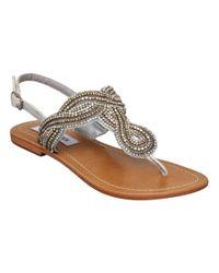 Steve Madden | Gray Shiekk Rhinestone Twist Flat Sandals | Lyst
