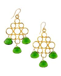Devon Leigh | Green Quartz Drop Earrings | Lyst