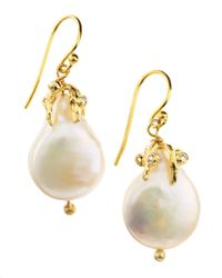 Indulgems - White Coin Pearl Cubic Zirconia Drops - Lyst