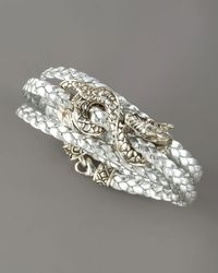 John Hardy | Metallic Naga Triple-wrap Leather Bracelet, Silver | Lyst