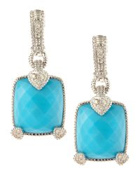 Judith Ripka | Blue Fontaine Pave Turquoise Heartprong Earrings | Lyst