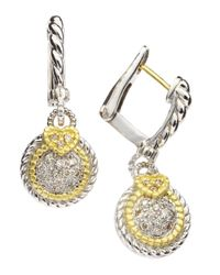 Judith Ripka | Metallic Small Pave Circle Earrings | Lyst