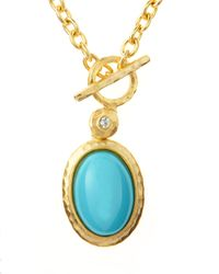 Kenneth Jay Lane | Blue Cabochon Pendant Toggle Necklace | Lyst